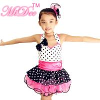 Quality Sweet Heart Neckling Tiered Layered Skirt Polka Dots Children'S Dance Costumes wholesale