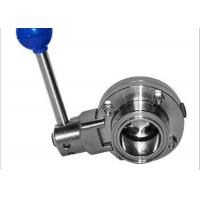 Quality Full Port Sanitary Butterfly Valves , Manual Butterfly Valve 100% Hydraulic Pressure Tested wholesale