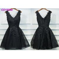 Quality Homecoming Black Lace Cocktail Dress / Beach Sleeveless Short Cocktail Dresses wholesale