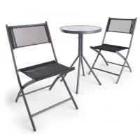 Quality Black Bistro Set 3 Piece Table and Chairs Set with hardwearing woven fabric ceramic garden table set wholesale