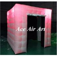 Cheap beautiful black interior cube inflatable booth with led lights, two doors photo booth tent inflatable for events for sale