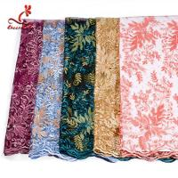 Cheap French Luxury Embroidered Lace Fabric / Dress Voile Tulle Lace Fabric Flowers for sale