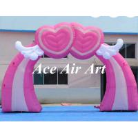Quality custom pink inflatable event arch with flying heart for wedding decoration wholesale