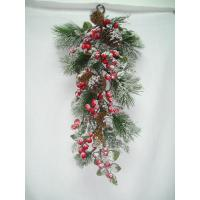 Quality Wall  festival hanging Artificial Decorative Flowers Mistletoe with Pinecones   wholesale