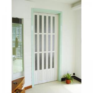 Quality Interior Decorative PVC Accordion Folding Door Walnut Color With Glass wholesale