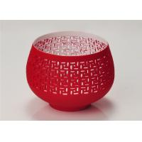 Quality Red Votive Porcelain Candle Holder Bowl / Hollow Ceramic Candle Houses wholesale