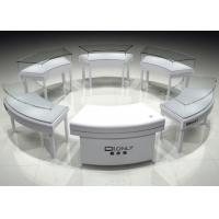 Buy cheap Lacquer Wooden Round Jewelry Display Cases With Lights Matte White from wholesalers