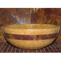 Quality Inca Gold Marble Kitchen Bathroom Sinks With Multi Red Onyx Stone Mosaic Inlay wholesale