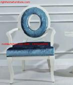 Cheap Leisure fabric with white painting solid wood chair in Neoclassical design and for sale