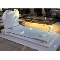 Quality White Pearl Monument Grave Markers , Marble Sketch Simple Headstones For Graves wholesale