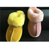 Quality Tan Suede Sheepskin Slippers Winter Women Cow Suede Sheepskin House Slippers wholesale