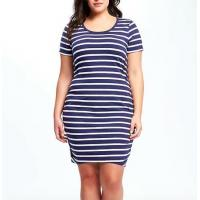 China 2019 Cotton Ladies Plus Size Dresses Blue And White Stripped Anti Static on sale