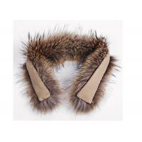China Raccoon Fur Collar Soft fluffy Smooth Natural Color Large Long Collar Detachable For Winter Jacket on sale