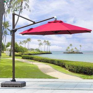 Buy cheap Beer Starbucks Outdoor Garden Patio Umbrella With Red Crank Handle Led Light from wholesalers