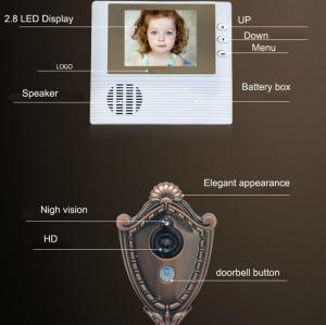 "Cheap 2.8"" LCD Screen Digital Door Peephole Viewer Camera IR LED Night Vision Home Security Door Eye Electronic Doorbell Alarm for sale"
