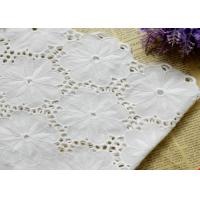 Quality Swiss Voile 100% Cotton Lace Fabric , Embroidery Guipure Lace Fabric For Lady Dress wholesale