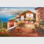 Quality Mediterranean Sea Oil Painting Impression Coastline Landscape Painting for Decor wholesale