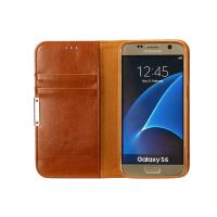 Quality Luxury Leather Phone Cases Galaxy S6 Brown With Magnet / Card Pocket wholesale