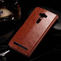 Quality Asus Zenfone 2 Laser Cell Phone Leather Wallet Case Crazy Horse With Custom Logo wholesale