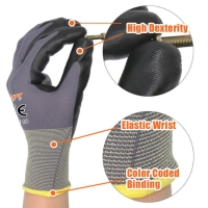 China Grey Nylon Light Black Palm Recycled Work Nitrile Gloves on sale