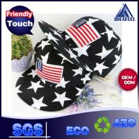 Quality Anti - Wrinkle Black Cotton Snapback Baseball Caps 3D Logo USA Flag Strip wholesale