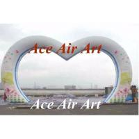 Quality custom giant wedding decorative inflatable heart arch with flower printing for sale wholesale