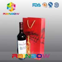 China Biodegradable Customized Paper Bags With PP Rope For Red Wine Bottles Packaging on sale