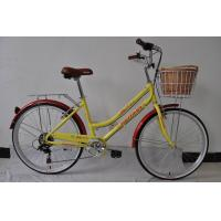 Quality Made in China CE standard hi-ten steel  26 inch elegant OL city bike for lady  with single speed with basket wholesale