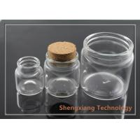 Cheap 130ml Glass Storage Jars Clear Glass Bottles With Corks / Stopper for Foods for sale