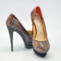 Quality coffee snake skin pump shoes for women wholesale