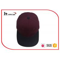 China Burgundy Cotton Twill Sports Cool Baseball Caps With Coffee Flat Peak And Top Button on sale