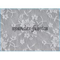 Quality Variety Nylon Lycra White Lace Fabric With Four Way Stretch , 88% Nylon 12% Spandex wholesale