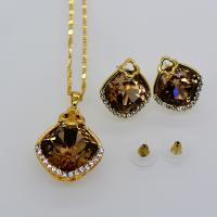 China Fashion luxury crystal Necklace Set 18K Real Gold Plated Necklace pendant Earrings on sale