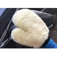 Quality Household White Car Wash Hand Gloves , Lambswool Car Wash Mitt 26.5 X 21 Cm wholesale