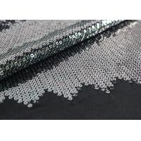 Quality Embroidered Mesh Lace Fabric With Silver Sequin , Bridal Lace Fabric By The Yard wholesale