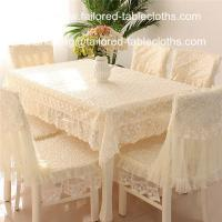 Quality Luxury embroidered lace tablecloth and chair cover, embroider lace table linens, wholesale