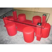 China MDF Attached Leather Coffee Table, Red PVC Coffee Tables on sale