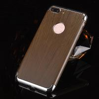 Quality 3 in 1 Hard PC Plating Border Wood Grain Cell Phone Case Cover For iPhone 7 7 Plus 6 6s Plus wholesale