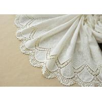 Quality Customized Embroidery Cotton Lace Fabric By The Yard For Dress Cloth Off White Color wholesale