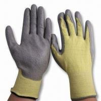 Quality 13g Dupont Kevlar Knitted Liner Cut Resistant Gloves with Grey PU Coated on Palm, CE-certified wholesale