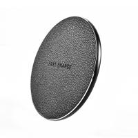 China Fashionable Round PU Leather Desktop Wireless Phone Charger 5V 2A 9V 1.67A Input on sale