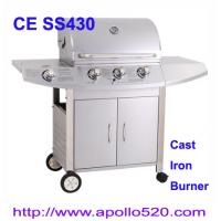 Quality Outdoors Gas Grill cast iron 3burner plus side burner wholesale