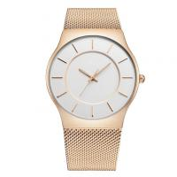 Quality Business Mineral Glass Mesh Strap Watch Gold Plated , Customized Color wholesale