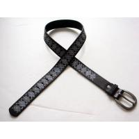 Quality mens real leather belt with silk printed and stitching wholesale