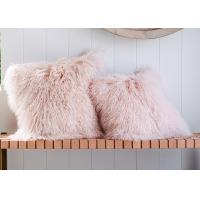 Quality Long Wool Pink Mongolian Lamb Fur Throw Pillow 20x20 Inch For Air Condition Room wholesale