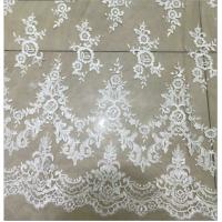 Apparel Accessories Mesh Based Embroidery Lace Fabric Ivory Color