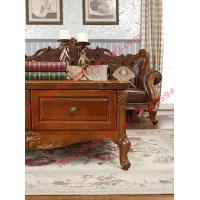 Cheap European Classic Solid Wooden Carving Frame with Italy Leather Upholstery Sofa Set for sale