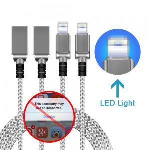 China iPhone 5 6 7 Plus LED Light USB Charging Cable Zinc Alloy Metal Head OEM on sale