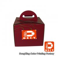 Recycled Cardboard 6 Inch Cake Packaging Boxes , Red Handmade Cake Box With Handle