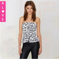 China Europe new leopard print halter Bra Sexy Slim sexy strapless blouse , women tank tops on sale